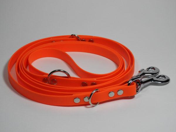 laisse biothane orange multiposition 3 mètres